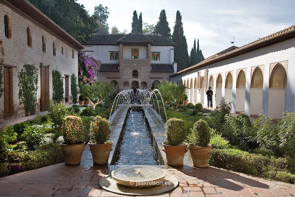 Generalife Garden in Moorish Alhambra Palace, Andalucia, Spain