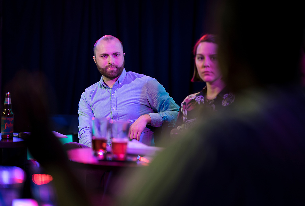 "Erik Lorenzsonn looks on during the live taping of the ""Madsplainers"" Podcast at High Noon Saloon in Madison, WI on Tuesday, April 9, 2019."