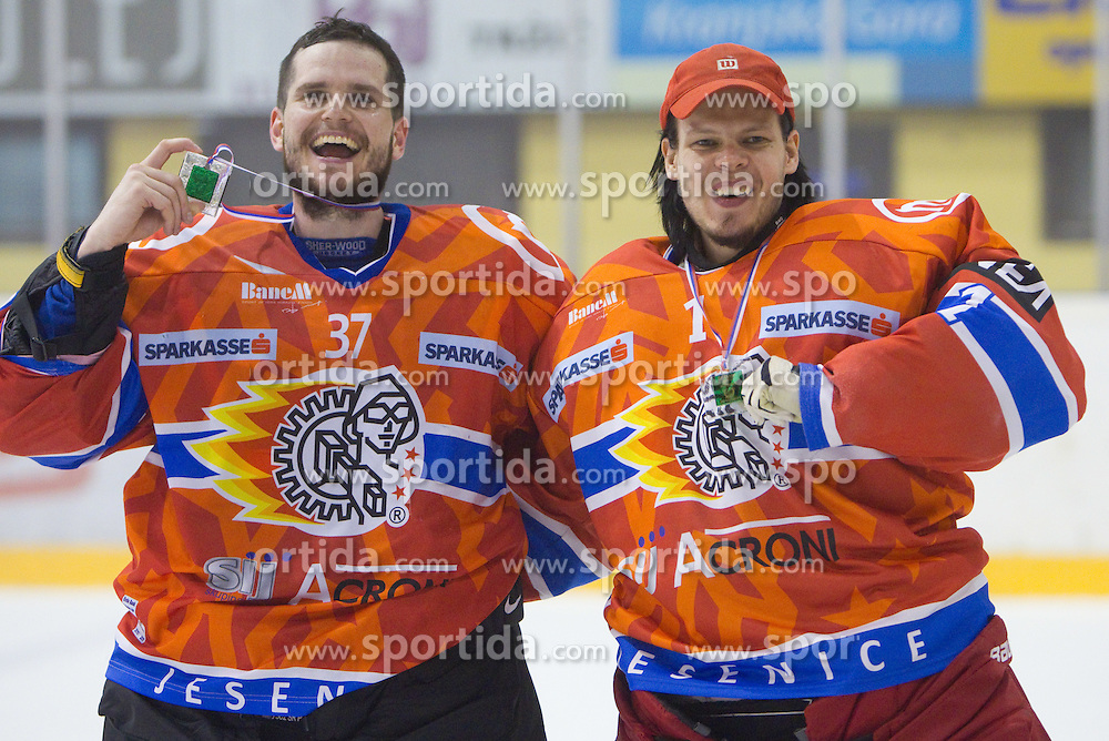 Goalkeepers of Acroni Jesenice Michal Fikrt and Jaako Suomalainen celebrate after winning the ice-hockey match between HK Acroni Jesenice and HDD Tilia Olimpija in fourth game of Final at Slovenian National League, on April 8, 2011 at Arena Podmezakla, Jesenice, Slovenia. Jesenice defeated Olimpija 4-2 and became Slovenian National Champion 2010-2011. (Photo by Vid Ponikvar / Sportida)