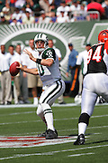EAST RUTHERFORD, NJ - SEPTEMBER 12:  Quarterback Chad Pennington of the New York Jets drops back to pass against the Cincinnati Bengals at Giants Stadium on September 12, 2004 in East Rutherford, New Jersey. ©Paul Anthony Spinelli *** Local Caption *** Chad Pennington