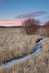 """Frozen Creek in Martis Valley"" - This small frozen creek was photographed at sunset in Truckee's Martis Valley."