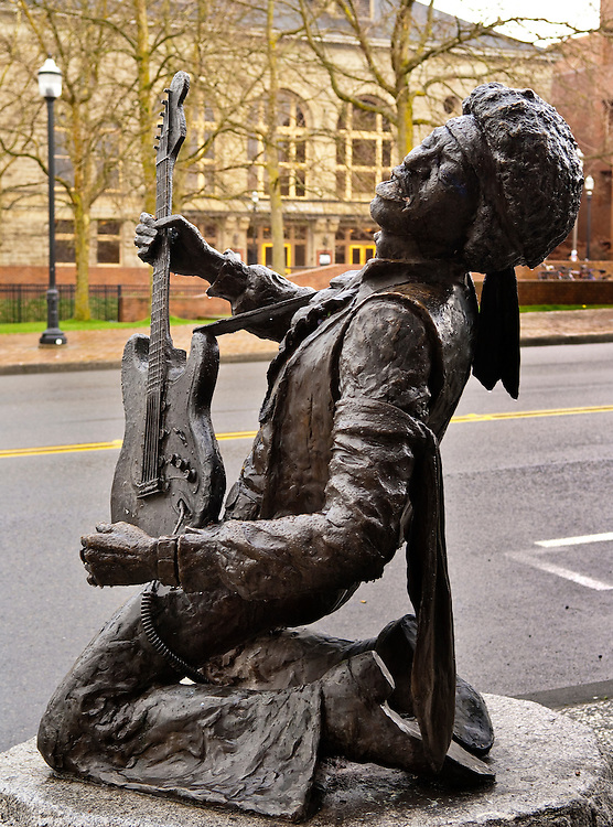 Jimi Hendrix sculpture by Daryl Smith in Pike and Pine neighborhood of Seattle, Washington.