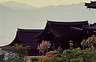 Kiyomizu-dera, one of Kyoto's most famous temples, was built at the end of the 8th century.  The veranda extending from the main hall, supported by 139 pillars, has a spectacular view of Kyoto.  Kiyomizu-dera is designated a National Treasure and Important Cultural Property