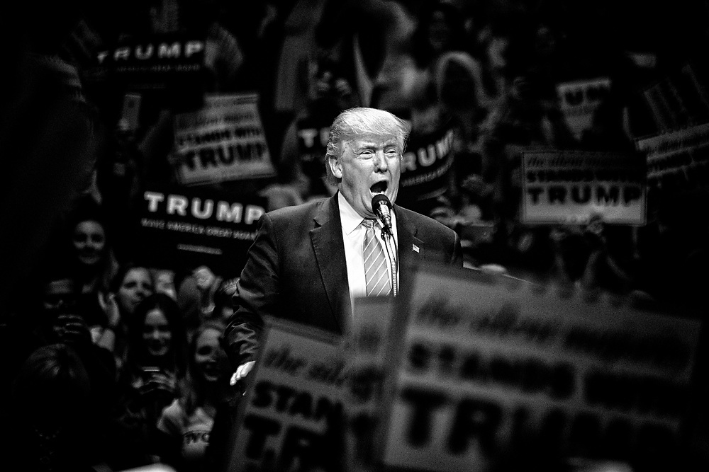 "A frenetic energy would envelop the crowd who were there to see their hero, their warrior poet, the man they all thought would solve their problems and restore America to ""Greatness."" Anaheim, Calif. May 26, 2016. (Photo by Gabriel Romero ©2016)"