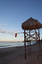 """Life Guard Tower"" - This palapa style life guard tower was photographed in Puerto Vallarta, Mexico."