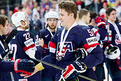 Jake Gardiner of USA with bronze medal after winning during Ice Hockey match between USA and Czech Republic at Third place game of 2015 IIHF World Championship, on May 17, 2015 in O2 Arena, Prague, Czech Republic. Photo by Vid Ponikvar / Sportida