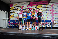 The jersey-wearers celebrate after Stage 1 of the Lotto Thuringen Ladies Tour - a 124.8 km road race, starting and finishing in Schleiz on July 13, 2017, in Thuringen, Germany. (Photo by Balint Hamvas/Velofocus.com)