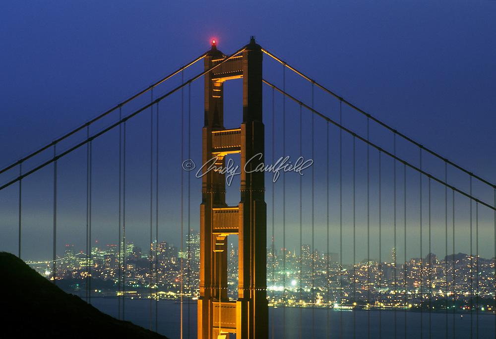 City skyline as seen through Golden Gate Bridge from Marine headlands, San Francisco CA