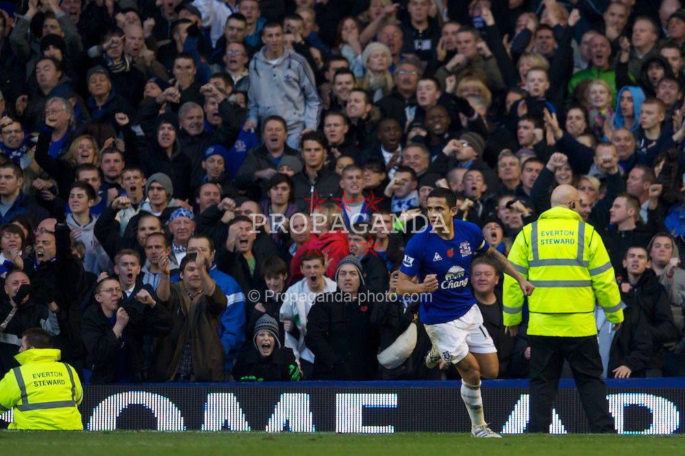 LIVERPOOL, ENGLAND - Sunday, November 14, 2010: Everton's Tim Cahill celebrates scoring a goal against Arsenal during the Premiership match at Goodison Park. (Photo by: David Rawcliffe/Propaganda)