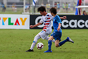 Team USA midfielder Victor Valdez (17) dribbles the ball  during a CONCACAF boys under-15 championship soccer game, Monday, Aug. 5, 2019, in Bradenton, Fla. The USA defeated Guatemala  2-0 (Kim Hukari/Image of Sport)