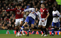 Photo: Paul Thomas.<br /> Manchester United v Middlesbrough. The FA Cup, Quarter Final replay. 19/03/2007.<br /> <br /> Cristiano Ronaldo (L) of Utd battles with Julio Arca.
