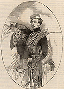 Lewis Edward Nolan (1820?-1854) English soldier; captain of Hussars and writer on cavalry. He carried the disastrous order which brought about the Charge of the Light Brigade at Balaclava and was shot while trying to divert the brigade. Wood engraving 1854. Crimean (Russo-Turkish) War 1853-1856.  Engraving.