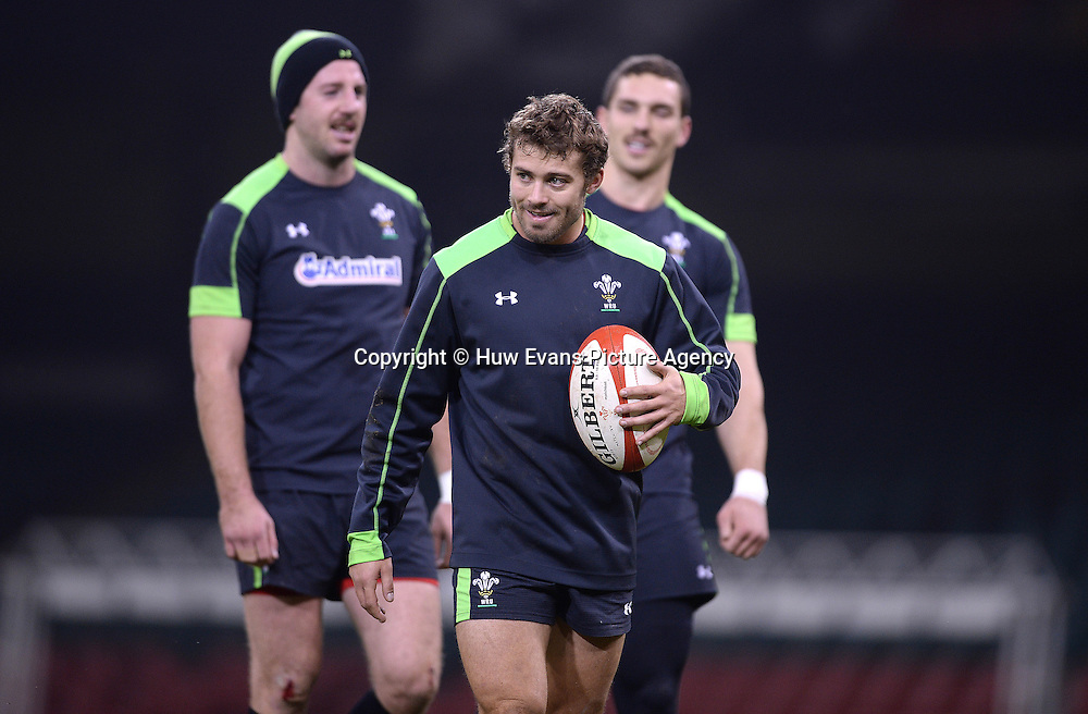 21.11.14 - Wales Rugby Training -<br /> Alex Cuthbert, Leigh Halfpenny and George North during training.<br /> &copy; Huw Evans Picture Agency