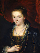 Portrait of Suzanne Fourment'. Suzanne Fourment (1599-1643) sister of Helena Fourment, second wife of the painter.  Peter Paul Rubens (1577-1640) Flemish painter. Oil on wood.