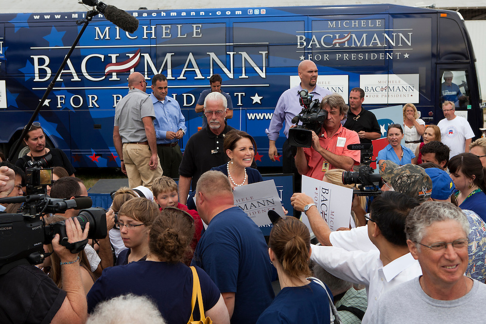 Republican presidential hopeful Michele Bachmann, center, campaigns on Tuesday, August 9, 2011 in Humboldt, IA.
