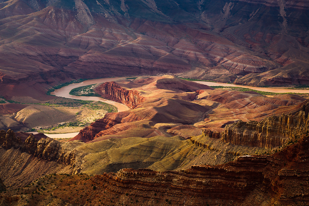 Near the east end of Grand Canyon National Park, the Colorado River meanders around the Unkar Delta.