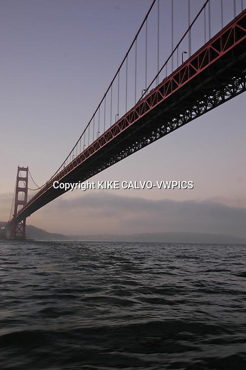 Golden Gate Bridge.Alcatraz Prison.San Francisco Bay at sunrise, California, United States