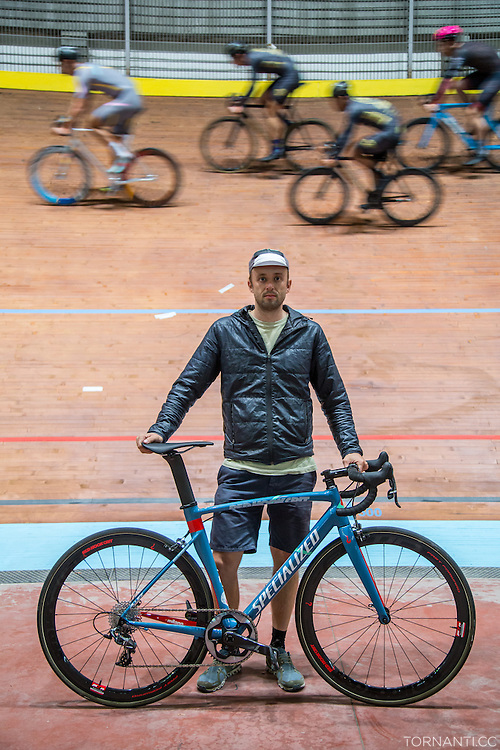 RHC founder David Trimble poses during the &quot;Red Hook Crit Track Night&quot;, when the Vigorelli velodrome opened its doors to the riders that were in town for the upcoming RHC Milano no. 7<br /> <br /> Photo: Tornanti.cc