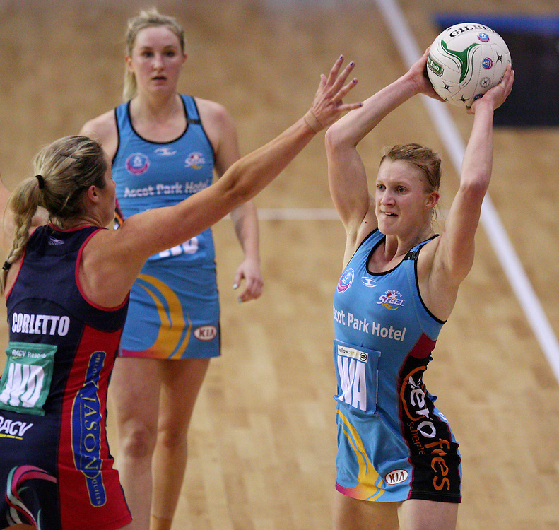 Steels Shannon Francois looke to pass the ball over Vixens Julie Corletto in the ANZ Championship netball match at Invercargill Velodrome, Invercargill, New Zealand, Saturday, June 30, 2012. Credit:SNPA / Dianne Manson