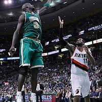 09 March 2012: Boston Celtics power forward Kevin Garnett (5) grabs a rebound during the Boston Celtics 104-86 victory over the Portland Trail Blazers at the TD Banknorth Garden, Boston, Massachusetts, USA.