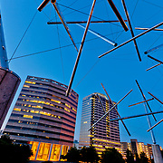 "Triple Crown ""Tensegrity"" public art installation by Kenneth Snelson at Crown Center in Kansas City MO."