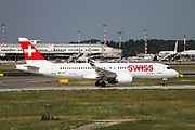 Swiss International Air Lines, Airbus A220-300 (HB-JCE) Photographed at Malpensa airport, Milan, Italy