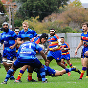 Action during the Swindale Shield club rugby game played between Tawa v Johnsonville<br /> , at Lyndhurst Park, Tawa, Wellington, New Zealand on 28 April 2018.  Tawa won 75-7.