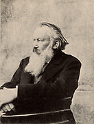 Johannes Brahms (1833-1897) German composer. Signed photograph taken in Vienna 6 October 1895. Halftone.