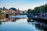 Dublin, Ireland--July 9, 2018. Photo taken along  the banks of the River Liffey in Dublin Ireland, in the morning.