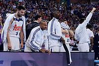 Baskonia's XXX and Real Madrid's Felipe Reyes, Dontaye Draper, Othello Hunter, Jaycee Carroll and Jonas Maciulis during Semi Finals match of 2017 King's Cup at Fernando Buesa Arena in Vitoria, Spain. February 18, 2017. (ALTERPHOTOS/BorjaB.Hojas)