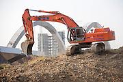 Excavator at work at the construction site of Expo 2015, Rho, June 2014. &copy; Carlo Cerchioli<br /> <br /> Escavatore al lavoro nel cantiere di Expo 2015, Rho, giugno 2014.