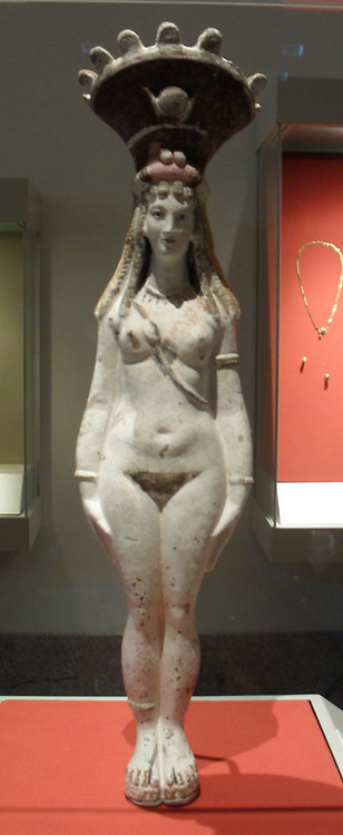 Figure of Isis-Aphrodite. Roman Period 2nd century A.D. From Egyptian painted brown, black, red, and pink on white engobe