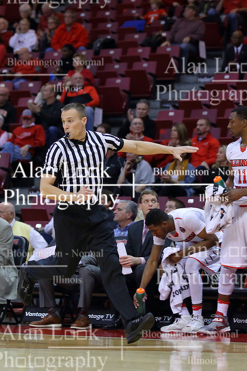 26 November 2016:  .K B. Burdett Jr. waves a hand at the bench asking the players to take a seat during an NCAA  mens basketball game between the IUPUI Jaguars the Illinois State Redbirds in a non-conference game at Redbird Arena, Normal IL