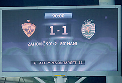 Result after the football match between NK Maribor and Sporting Lisbon (POR) in Group G of Group Stage of UEFA Champions League 2014/15, on September 17, 2014 in Stadium Ljudski vrt, Maribor, Slovenia. Photo by Vid Ponikvar  / Sportida.com