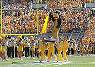 September 15 2012: Iowa Hawkeyes mascot Herky takes the field before the start of the NCAA football game between the Northern Iowa Panthers and the Iowa Hawkeyes at Kinnick Stadium in Iowa City, Iowa on Saturday September 15, 2012. Iowa defeated Northern Iowa 27-16.