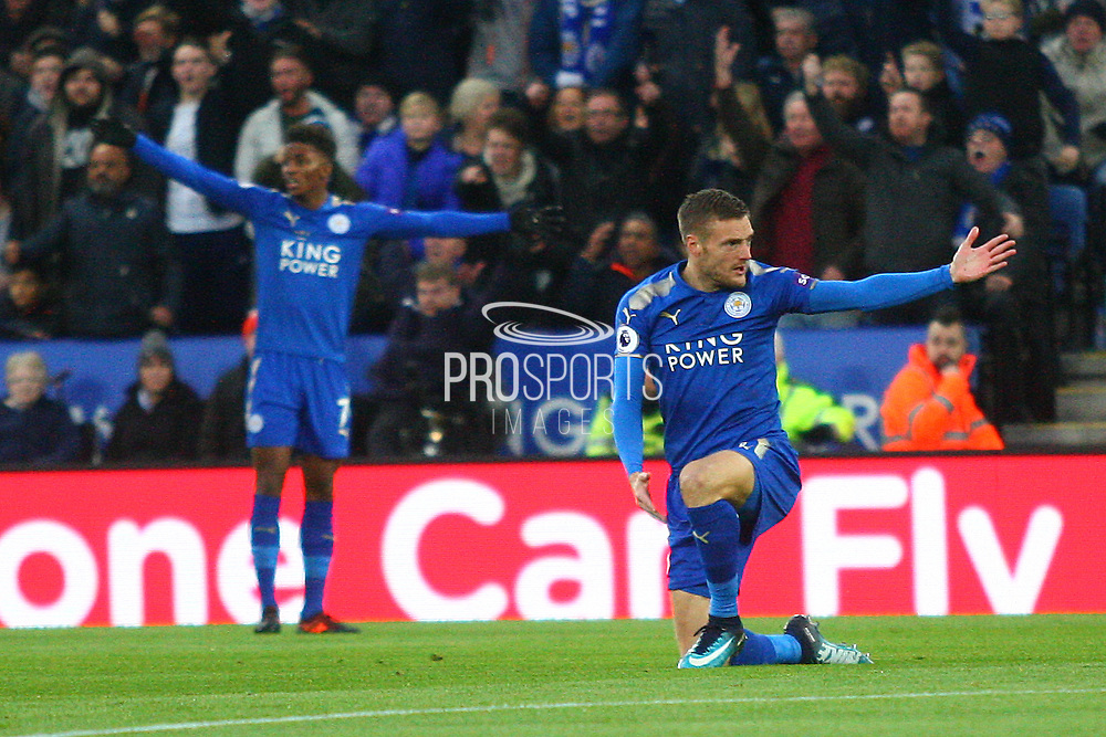 Leicester City forward Jamie Vardy (9) appeals for a foul during the Premier League match between Leicester City and Manchester City at the King Power Stadium, Leicester, England on 18 November 2017. Photo by John Potts.