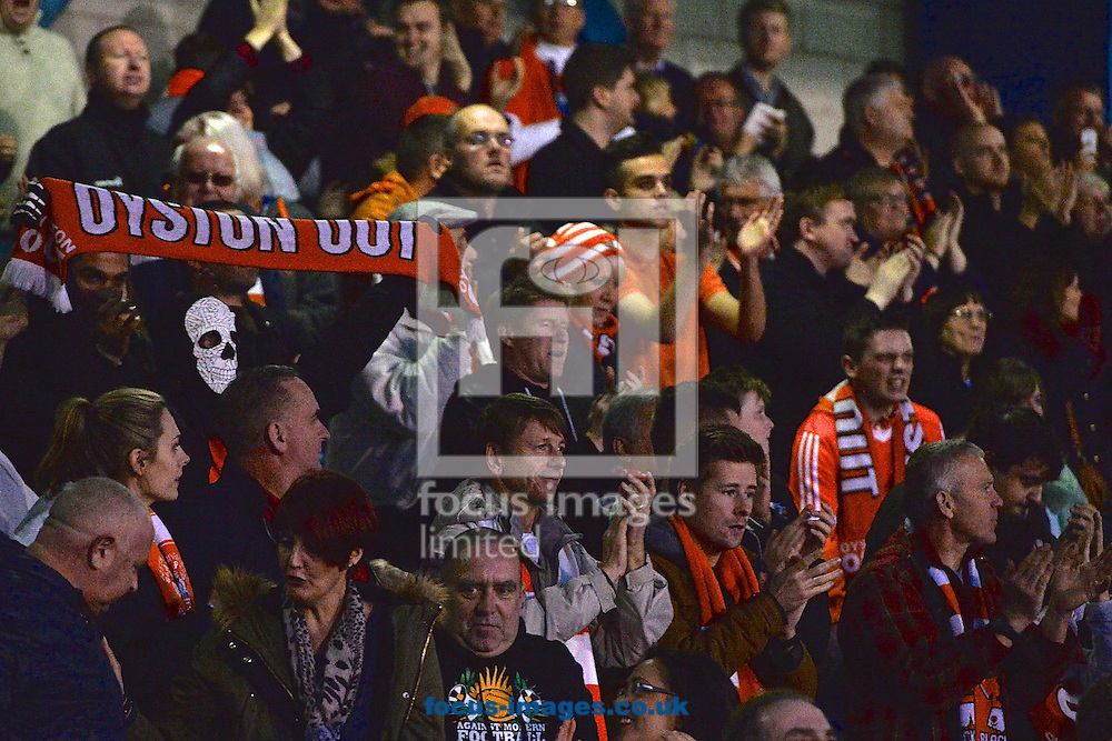 Blackpool fans celebrate Jack Redshaw scoring their third goal to make it Bury 4 Blackpool 3 during the Sky Bet League 1 match at Gigg Lane, Bury<br /> Picture by Ian Wadkins/Focus Images Ltd +44 7877 568959<br /> 31/10/2015