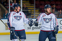 KELOWNA, CANADA - OCTOBER 27: Juuso Välimäki #6 and Parker AuCoin #32 of the Tri-City Americans fist bump to celebrate a goal against the Kelowna Rockets on October 27, 2017 at Prospera Place in Kelowna, British Columbia, Canada.  (Photo by Marissa Baecker/Shoot the Breeze)  *** Local Caption ***