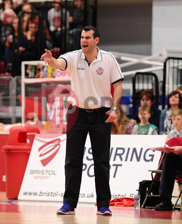 Bristol Flyers head coach, Andreas Kapoulas  - Photo mandatory by-line: Joe Meredith/JMP - Mobile: 07966 386802 - 11/04/2015 - SPORT - Basketball - Bristol - SGS Wise Campus - Bristol Flyers v Glasgow Rocks - British Basketball League