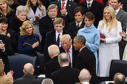 President-elect Donald Trump greets Vice President Joe Biden and President Barack Obama as he arrives for the Inaugural Ceremony to become the 45th President on Capitol Hill January 20, 2017 in Washington, DC.