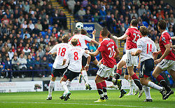 BOLTON, ENGLAND - Sunday, September 26, 2010: Manchester United's Michael Owen scores the second equalising goal against Bolton Wanderers, his 200th career goal, during the Premiership match at the Reebok Stadium. (Photo by David Rawcliffe/Propaganda)