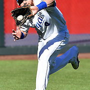 Kansas City Royals left fielder Alex Gordon made a running catch for the final out of the top of the third inning in the in the American League Championship Series playoff baseball game on October 15, 2014 at Kauffman Stadium in Kansas City, MO.
