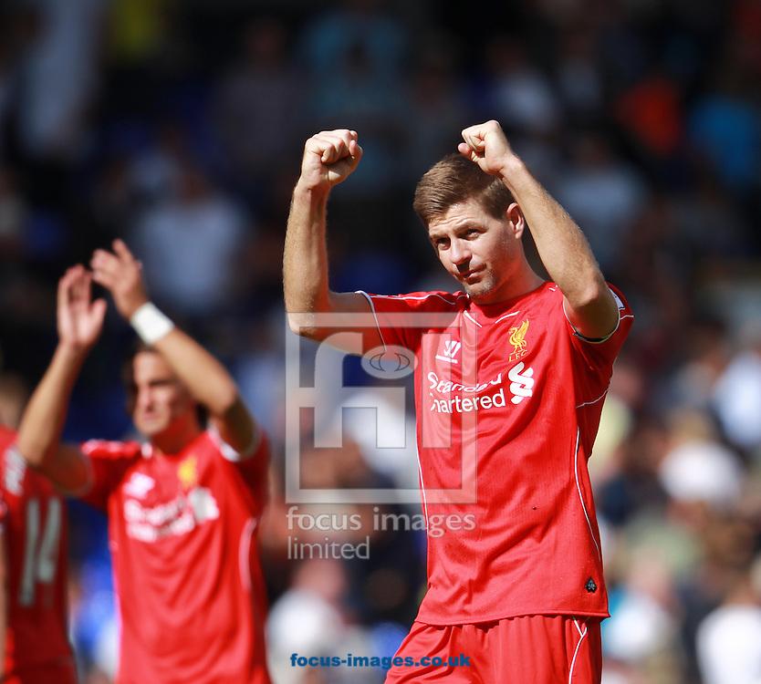 Steven Gerrard of Liverpool celebrates beating Tottenham Hotspur in the Barclays Premier League match at White Hart Lane, London<br /> Picture by John Rainford/Focus Images Ltd +44 7506 538356<br /> 31/08/2014