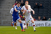 MK Dons Midfielder (on loan from Crystal Palace) Jonny Williams during the Sky Bet Championship match between Milton Keynes Dons and Brentford at stadium:mk, Milton Keynes, England on 23 April 2016. Photo by Dennis Goodwin.