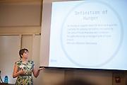 Ohio University student Samantha Smith gives a presentation at a forum on hunger in Southeastern Ohio Friday April 4, 2014 at Ohio University.  Photo by Ohio University / Jonathan Adams