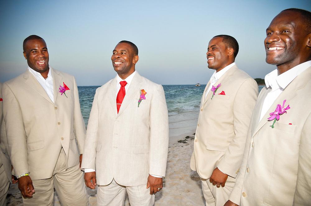 Kirkton & groomsmen on the beach at Iberostar Rose Hall, Montego Bay, Jamaica