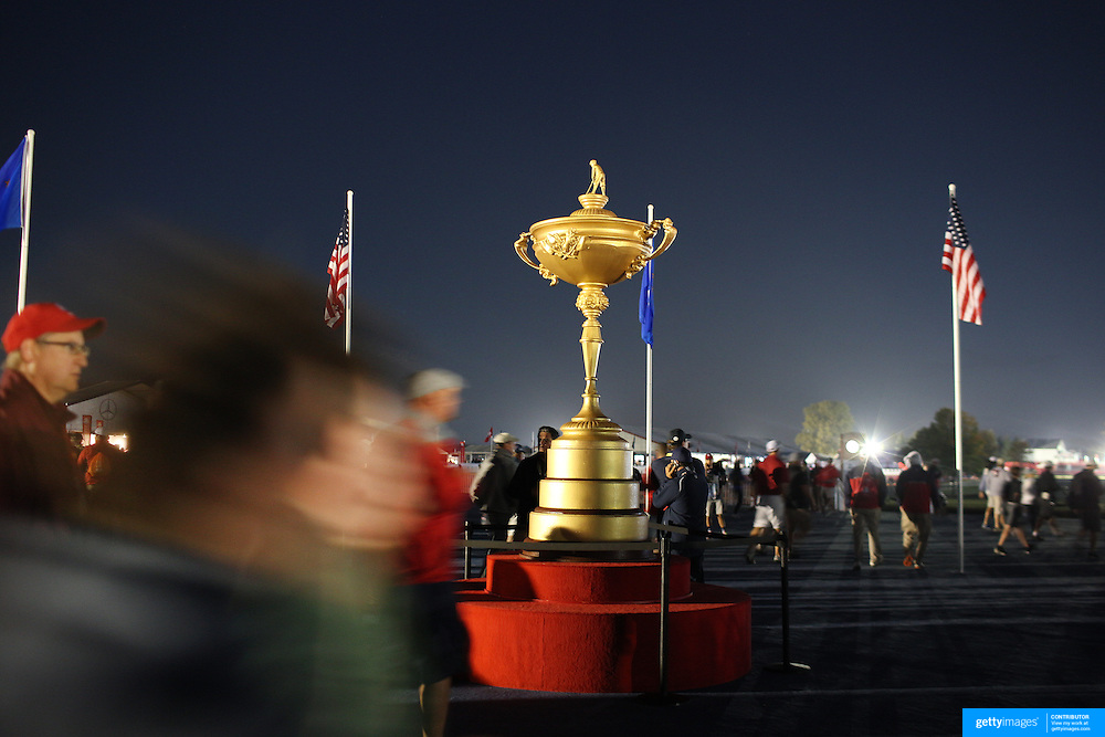 Ryder Cup 2016. Day Two. Fans arriving at dawn before the start of competition during the Ryder Cup at the Hazeltine National Golf Club on October 01, 2016 in Chaska, Minnesota.  (Photo by Tim Clayton/Corbis via Getty Images)