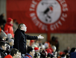 A Bristol City fan appeals to Milton Keynes Dons' David Martin as (martin) holds up play - Photo mandatory by-line: Joe Meredith/JMP - Tel: Mobile: 07966 386802 18/01/2014 - SPORT - FOOTBALL - Ashton Gate - Bristol - Bristol City v MK Dons - Sky Bet League One