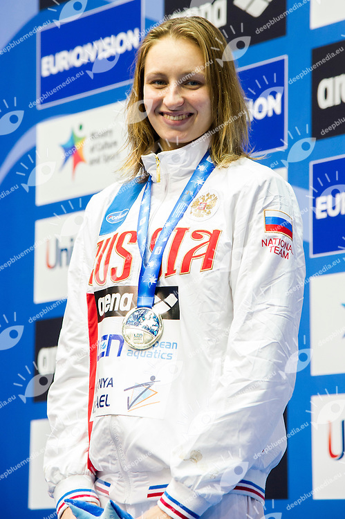 POPOVA Veronika RUS Silver Medal<br /> 200m Freestyle Women Final<br /> Netanya, Israel, Wingate Institute<br /> LEN European Short Course Swimming Championships Dec. 2 - 6, 2015 Day04 Dec.05<br /> Nuoto Campionati Europei di nuoto in vasca corta<br /> Photo Giorgio Scala/Deepbluemedia/Insidefoto