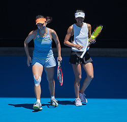 MELBOURNE, Jan. 24, 2018  Peng Shuai (L) of China and Hsieh Su-Wei of Chinese Taipei react during the women's doubles semifinal against Timea Babos of Hungary and Kristina Mladenovic of France at Australian Open 2018 in Melbourne, Australia, Jan. 24, 2018. Timea Babos and Kristina Mladenovic won 2-0 to enter the final. (Credit Image: © Zhu Hongye/Xinhua via ZUMA Wire)